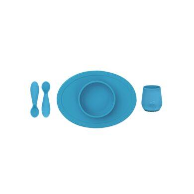 Ezpz Εκπαιδευτικό σετ φαγητού 100% σιλικόνης μπλέ