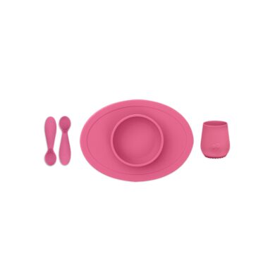 Ezpz Εκπαιδευτικό σετ φαγητού 100% σιλικόνης ροζ